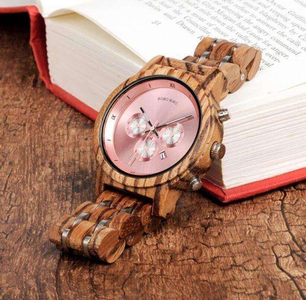Reloj MADERA de Diseño Actual, materiales nobles, el tiempo en tu mano, tiempo exacto, rosita
