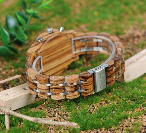 Reloj MADERA de Diseño Actual, materiales nobles, el tiempo en tu mano, tiempo exacto, por detrás