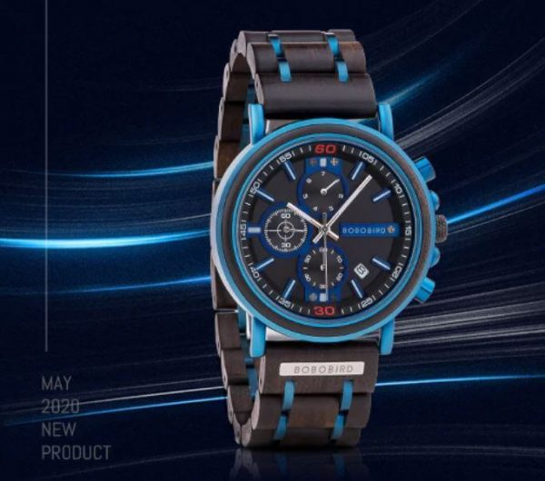 Reloj Militar MADERA Días, dial multifunción, comprar sin plástico, sin plástico, reloj azul