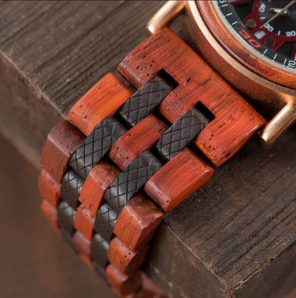 Reloj Militar MADERA Días, dial multifunción, comprar sin plástico, sin plástico, correa del reloj de madera