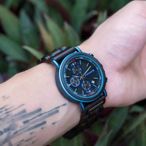 Reloj Militar MADERA Días, dial multifunción, comprar sin plástico, sin plástico, reloj deportivo