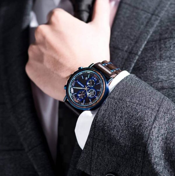 Reloj Militar MADERA Días, dial multifunción, comprar sin plástico, sin plástico, reloj cronógrafo
