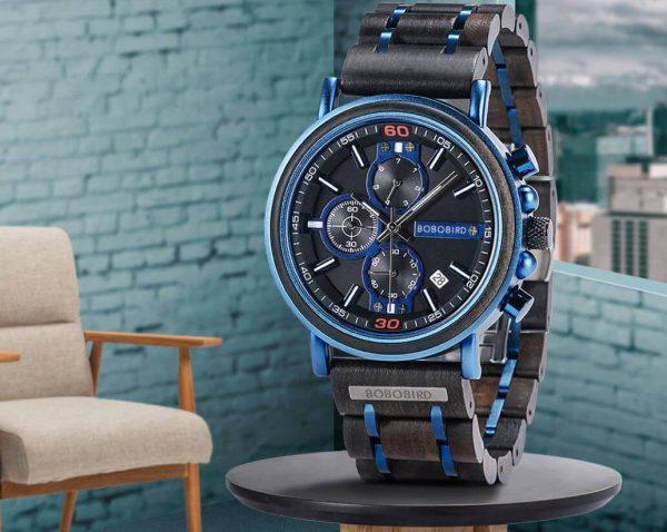 Reloj Militar MADERA Días, dial multifunción, comprar sin plástico, sin plástico, reloj práctico