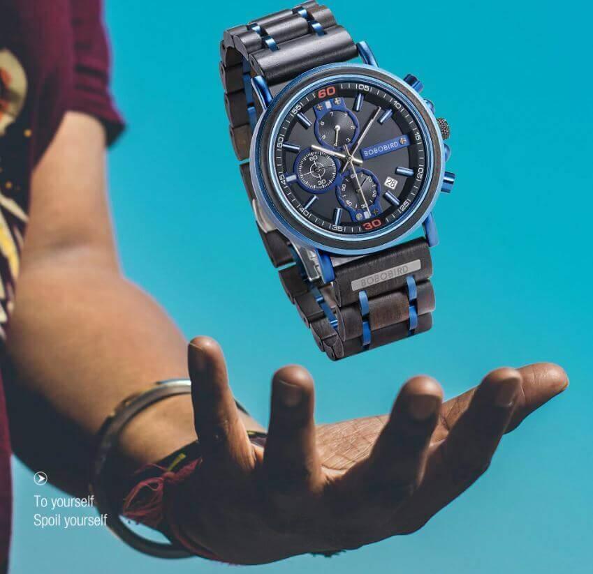 Reloj Militar MADERA Días, dial multifunción, comprar sin plástico, sin plástico, reloj unisex