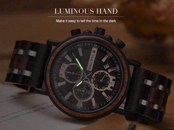 Reloj Militar MADERA Días, dial multifunción, comprar sin plástico, sin plástico, las manecillas brillan en la oscuridad