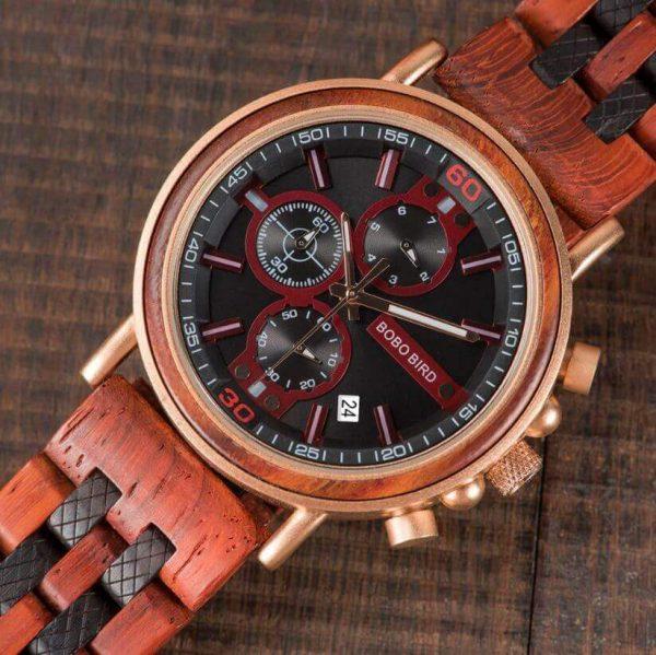 Reloj Militar MADERA Días, dial multifunción, comprar sin plástico, sin plástico, reloj color madera