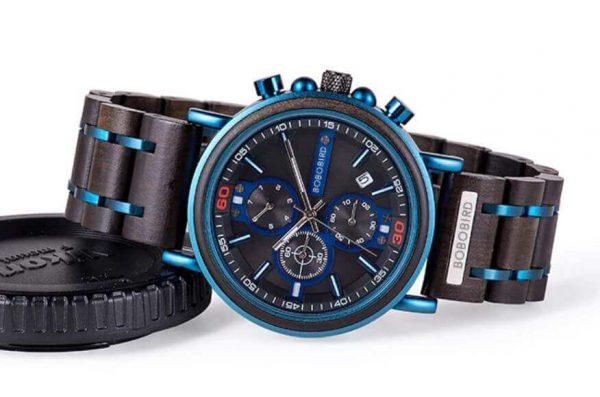 Reloj Militar MADERA Días, dial multifunción, comprar sin plástico, sin plástico, reloj color azul