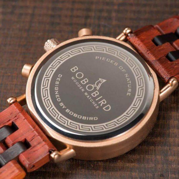 Reloj Militar MADERA Días, dial multifunción, comprar sin plástico, sin plástico, reloj acero inoxidable