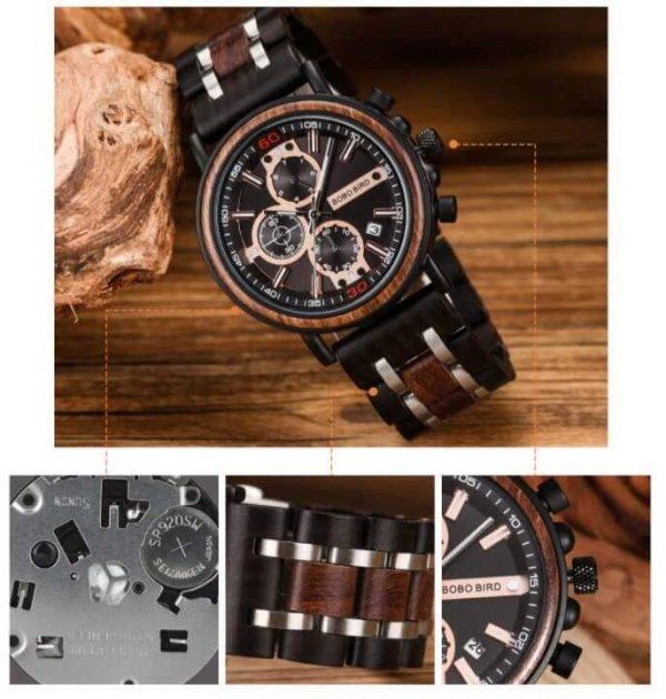 Reloj Militar MADERA Días, dial multifunción, comprar sin plástico, sin plástico, reloj movimiento cuarzo