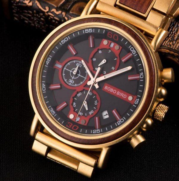 Reloj Militar MADERA Días, dial multifunción, comprar sin plástico, sin plástico, reloj dorado