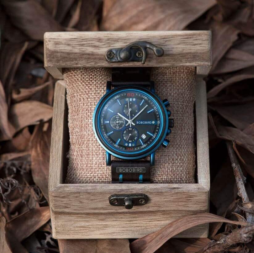 Reloj Militar MADERA Días, dial multifunción, comprar sin plástico, sin plástico, reloj con caja de regalo