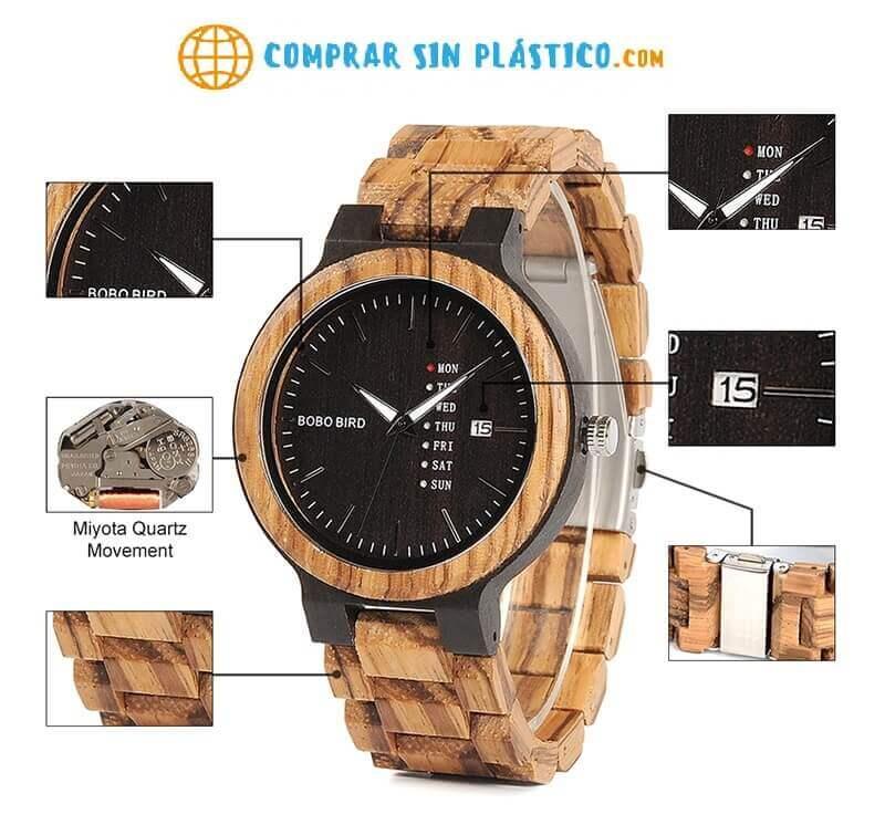 Reloj Moda de MADERA sostenible, sin plástico, natural, comprar sin plástico, mecanismo de cuarzo; sin plástico