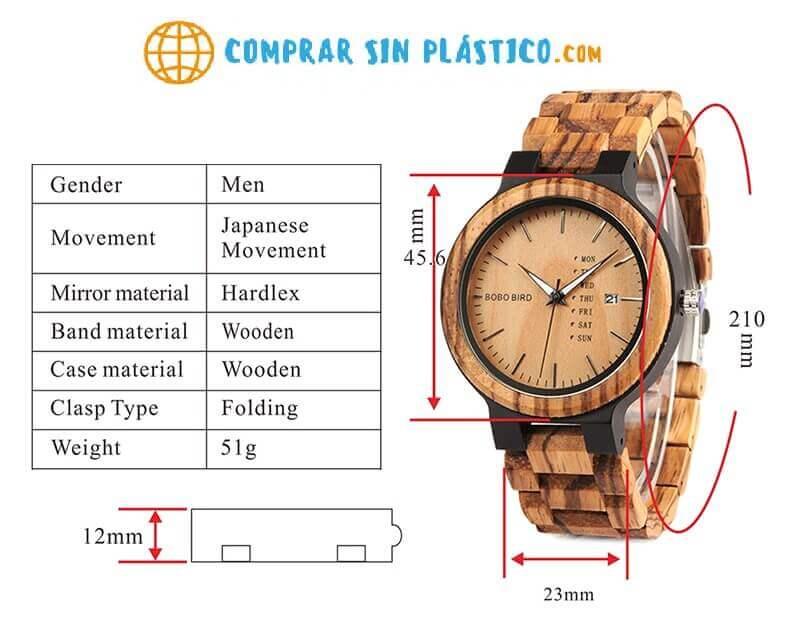Reloj Moda de MADERA sostenible, sin plástico, natural, comprar sin plástico, mecanismo de cuarzo; medidas sin plástico