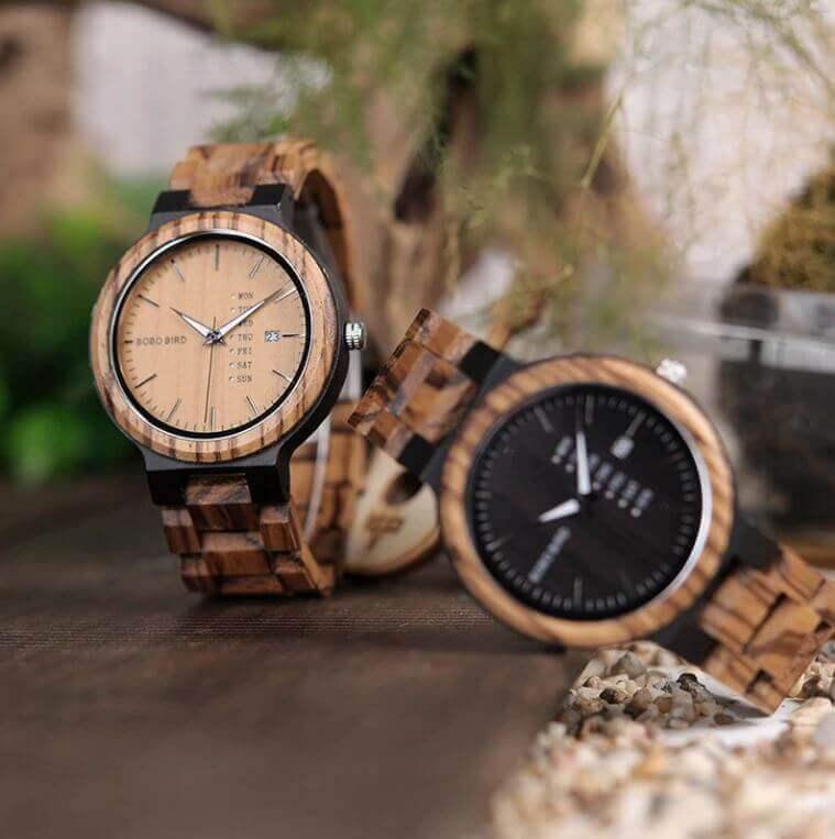 Reloj Moda de MADERA sostenible, sin plástico, natural, comprar sin plástico, mecanismo de cuarzo; modelo días de la semana