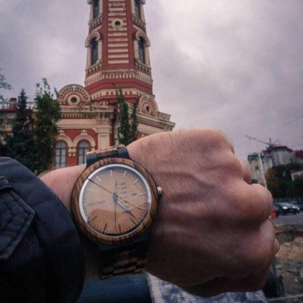 Reloj Moda de MADERA sostenible, sin plástico, natural, comprar sin plástico, mecanismo de cuarzo; para viajes