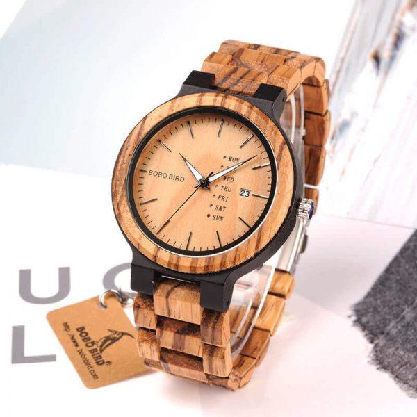 Reloj Moda de MADERA sostenible, sin plástico, natural, comprar sin plástico, mecanismo de cuarzo; no uses plástico
