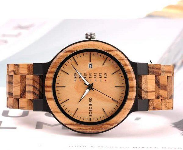 Reloj Moda de MADERA sostenible, sin plástico, natural, comprar sin plástico, mecanismo de cuarzo; comprar sin plástico