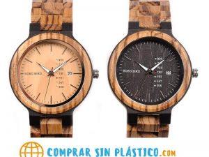 Reloj Moda de MADERA sostenible, sin plástico, natural, comprar sin plástico, mecanismo de cuarzo; no tiene plástico