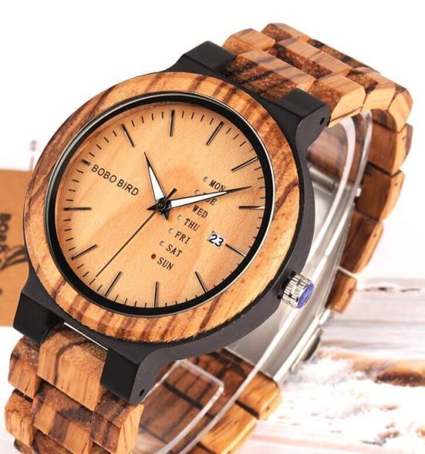 Reloj Moda de MADERA sostenible, sin plástico, natural, comprar sin plástico, mecanismo de cuarzo; producto sin plástico