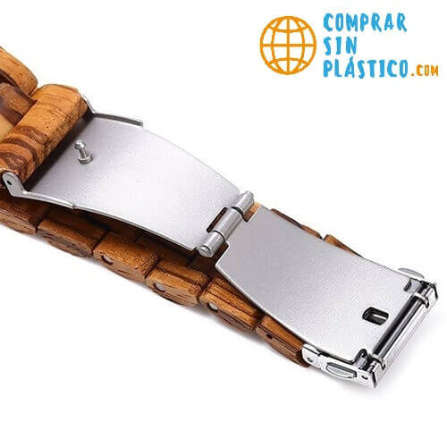 Reloj y Correa de MADERA ecológica MATERIAL SOSTENIBLE, producto con hebilla