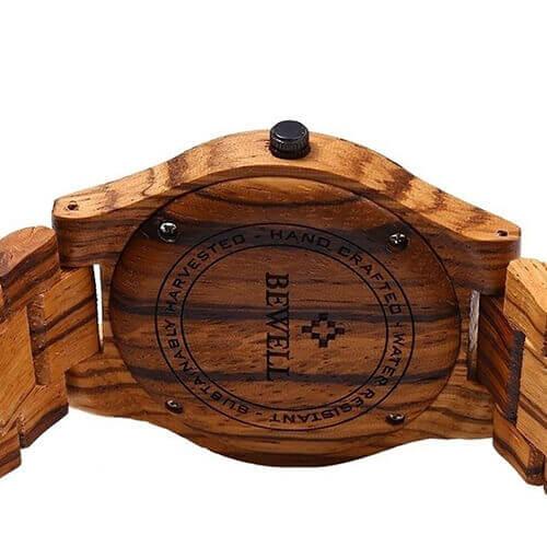 Reloj y Correa de MADERA ecológica MATERIAL SOSTENIBLE, con detalle trasero