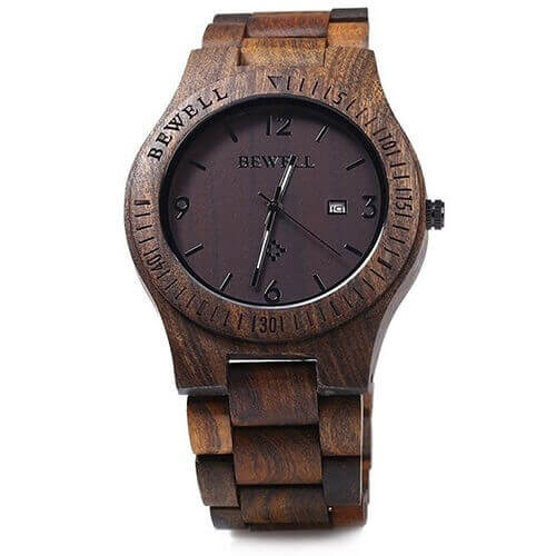 Reloj y Correa de MADERA ecológica MATERIAL SOSTENIBLE, producto negro