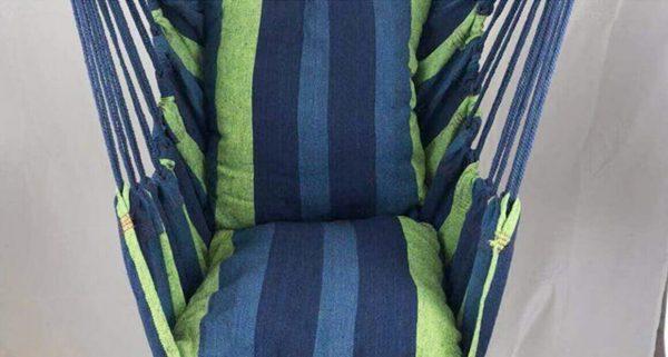 Silla Colgante Tela de ALGODÓN Colores, sin plástico, ecológica, sostenible, suave, cómoda, azul y verde, a rayas