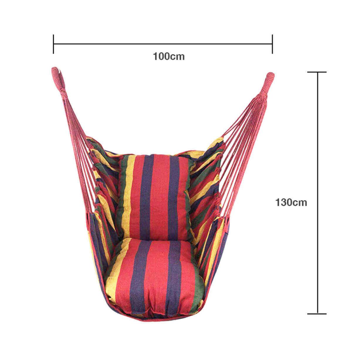 Silla Colgante Tela de ALGODÓN Colores, sin plástico, ecológica, sostenible, suave, cómoda, medidas para colgar