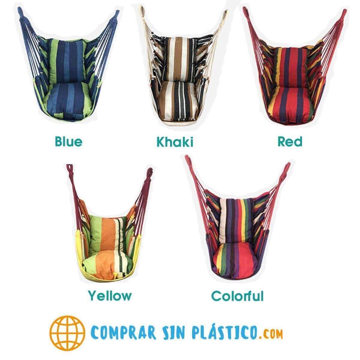 Silla Colgante Tela de ALGODÓN Colores, sin plástico, ecológica, sostenible, suave, cómoda, varios modelos comprar sin plástico