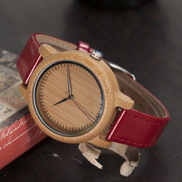 muy bonito reloj madera bamboo bambu rojo