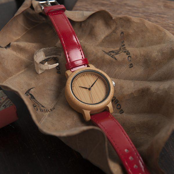 original reloj madera bamboo bambu rojo