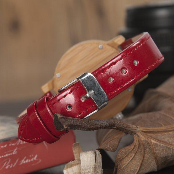 reloj madera bamboo bambu rojo