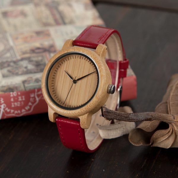 reloj madera bamboo bambu rojo mujeres