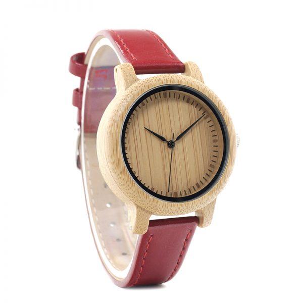 reloj madera bamboo bambu rojo para mujeres