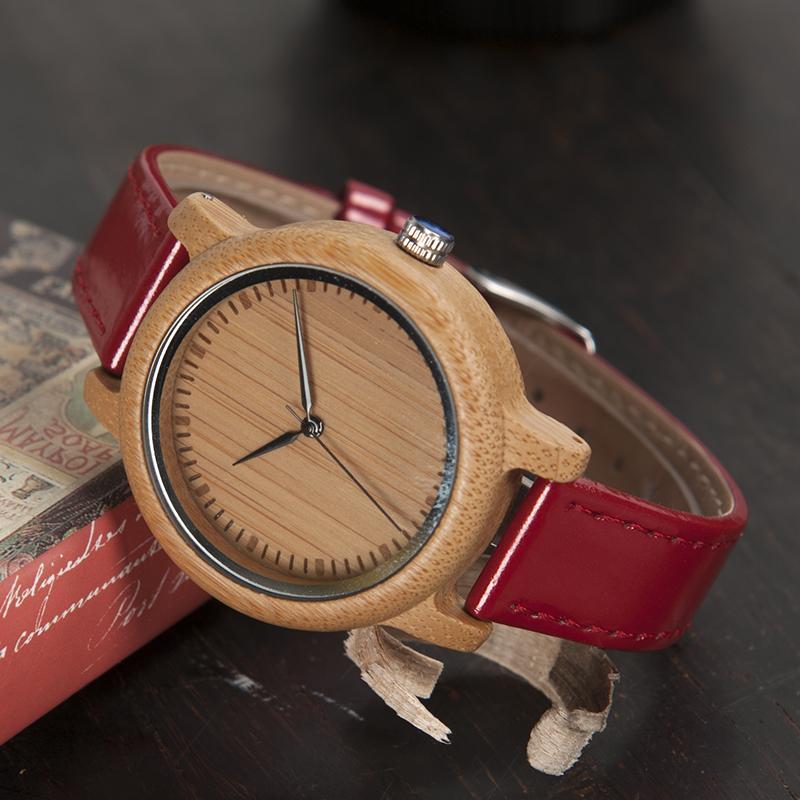 Reloj BAMBÚ y Correa Roja