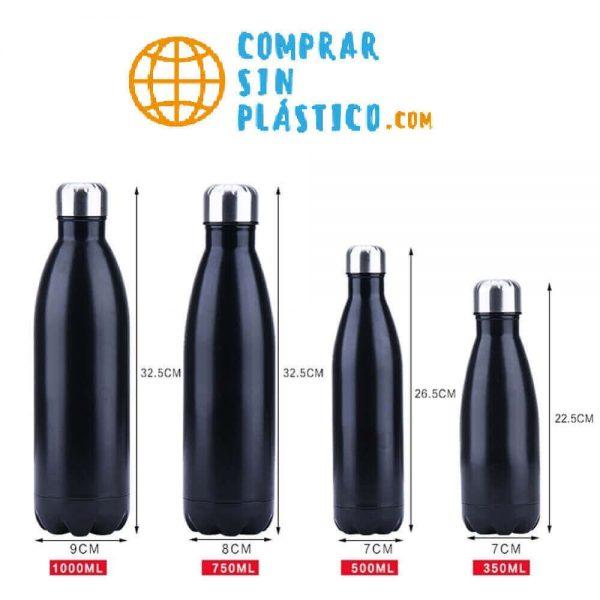 Botella de Agua METAL Doble Pared Colores, ecológica y sostenible, no contamina, Comprar SIN Plástico medidas en centímetros