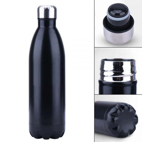 Botella de Agua METAL Doble Pared Colores, ecológica y sostenible, no contamina, Comprar SIN Plástico, modelo color negro