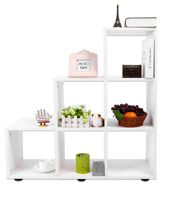 Estanteria MADERA 6 huecos color roble ejemplo decoracion comprar sin plástico