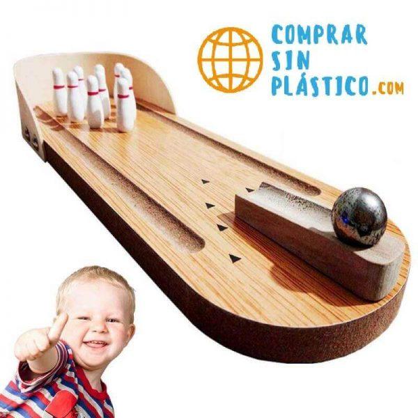 Mini Juego de Bolos MADERA natural ecológico. Juguete sostenible, para niños y adultos, oficina, salón de juegos. Comprar Sin Plástico. ComprarSinPlastico.com
