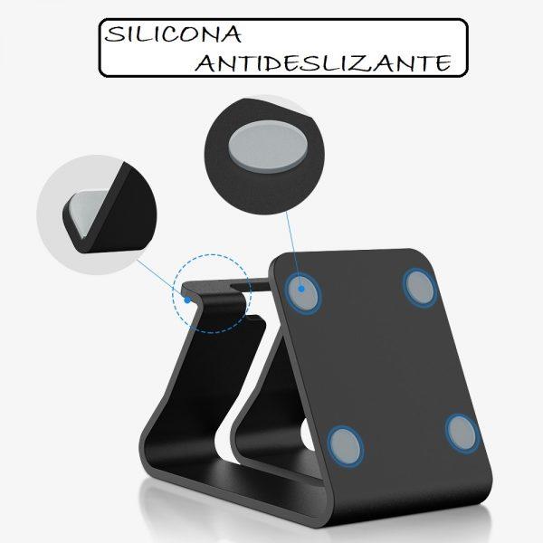 Soporte METAL para Móvil y Tablet con silicona ANTIDESLIZANTE