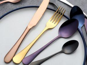 4 Piezas Vajilla ACERO Colores variados ecológicos