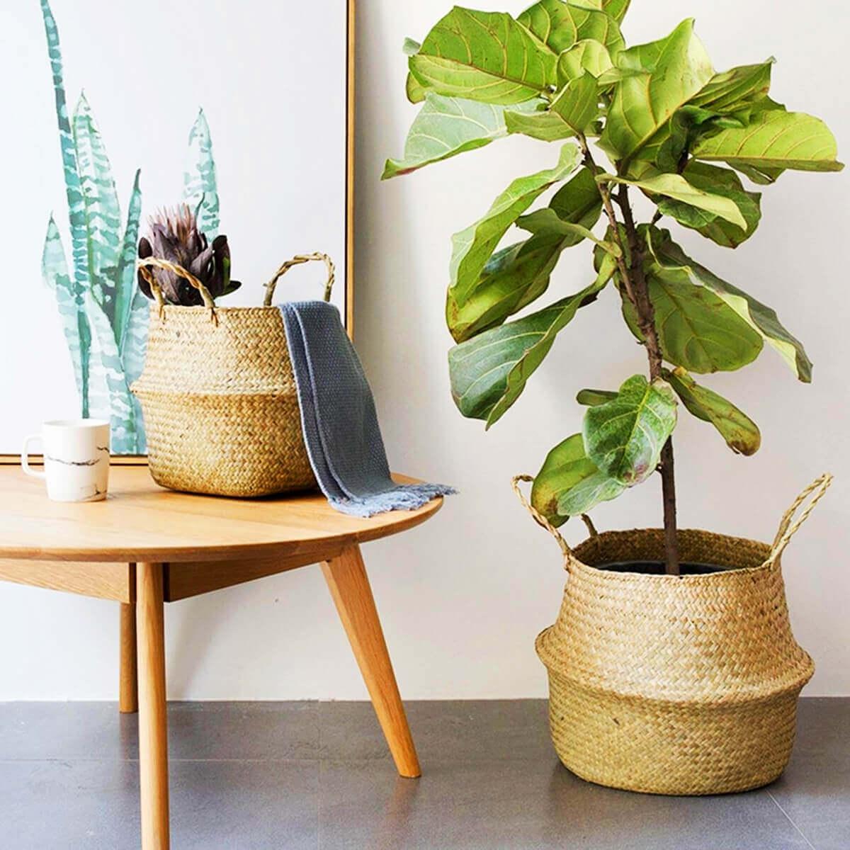 Bolso Tejido Fibras Naturales, ecológico, sostenible, natural, único y respeta el medio ambiente; para plantas o ambientes selectos