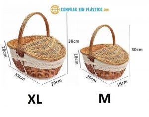 Cesta PicnicFIBRAS NATURALES ecológica, sostenible, fabricada con material orgánico y compostable, medidas exactas mimbre calidad suprema