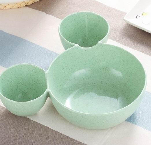 Plato de TRIGO prensado Mick Mouse verde miki sostenible y ecológico