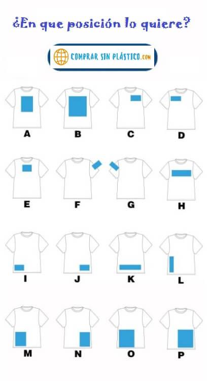 Camiseta ALGODÓN personalizable, material ecológico y sostenible. Tela de Algodón DIY, posiciones del dibujo donde quieras