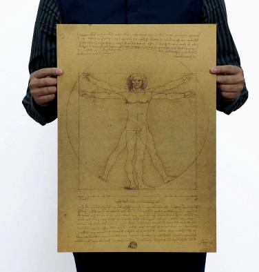 Láminas PAPEL Kraft Póster Varios diseños Póster ecológico MANUSCRITO LEONARDO Da Vinci