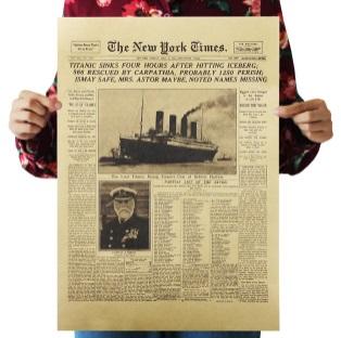 Láminas PAPEL Kraft Póster Varios diseños Póster ecológico NEW YORK TIMES Titanic
