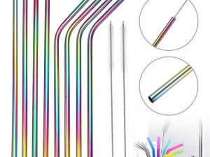Pack 8 pajitas METAL Colores Inoxidables ecológicas y sostenibles. Duraderas y muy fuertes, restaurantes y cafeterías