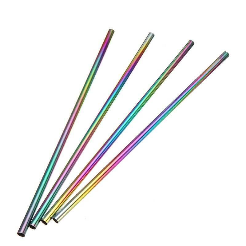Pack 8 pajitas METAL Colores Inoxidables ecológicas y sostenibles. Duraderas y no contaminan, notaras lo frio mas frio y lo caliente más caliente