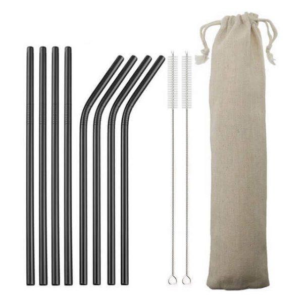 Pack 8 pajitas de METAL de Colores Inoxidables sostenibles y ecológicas. No se oxidan, comprar sin plástico, color negro